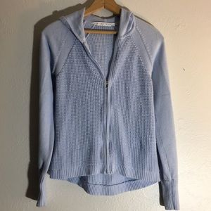 Athleta zip up hooded light blue sweater xs